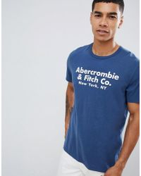 Abercrombie & Fitch - Address Logo Print T-shirt In Blue - Lyst