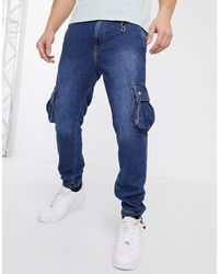Jack & Jones Intelligence Cargo Cuffed Hem Utility Jeans - Blue