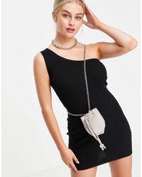 Truffle Collection Micro Mini Bucket Cross Body Bag With Chain Strap - Grey