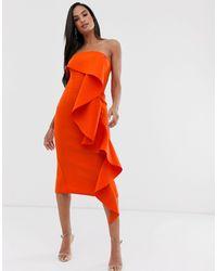 Lavish Alice exaggerated Frill Bardot Scuba Dress - Orange