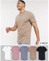 ASOS – 5er-Set lange Shirts mit Seitenschlitzen - Mehrfarbig