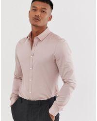 ASOS - Wedding Skinny Fit Shirt In Dusty Pink - Lyst