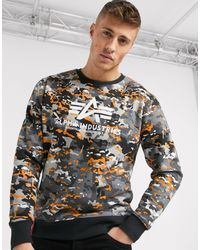 Alpha Industries Cotton Urban Camo Jumper - Black