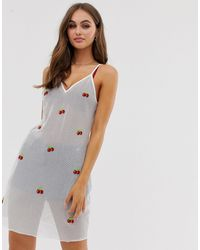 Glamorous Cami Dress With Cherry Embroidery - White