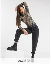 ASOS Asos Design Tall High Neck Ruched Front Bodysuit - Multicolour