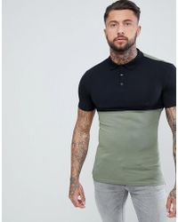 a7a4d42f ASOS - Muscle Jersey Polo With Stretch And Contrast Yoke - Lyst