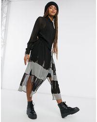 Religion Vestido camisero largo con diseño tie dye - Negro
