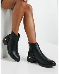 New Look Черные Ботинки Челси С Металлической Фурнитурой На Каблуке -черный