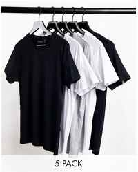 Brave Soul 5 Pack Crew Neck T-shirts - Black