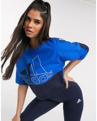 adidas Originals Adidas Training Logo Panel Sweat - Blue