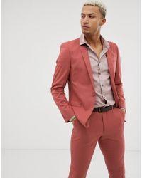 ASOS - Skinny Suit Jacket In Pink - Lyst