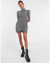 TOPSHOP High Neck Mini Dress - Black