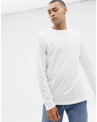 ASOS - Long Sleeve T-shirt With Crew Neck In White - Lyst