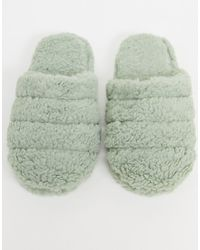 ASOS Zoe Quilted Slider Slippers - Green