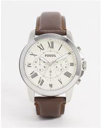 Fossil Fs4735 Grant - Chronograaf Horloge Met Bruin Leren Bandjes