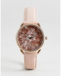 Fossil - Es4419 Tailor Leather Watch In Glossy Pink 35mm - Lyst