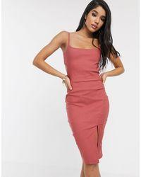 Vesper Розовое Платье Миди В Винтажном Стиле На Бретельках С Вырезом -розовый - Многоцветный