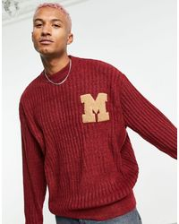 Mennace Oversized Knitted Sweater - Red
