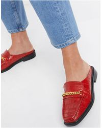 ASOS Munro Leather Mules - Red