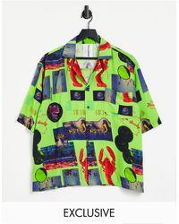 Collusion Camisa en tonos neón con estampado fotográfico y cuello - Verde