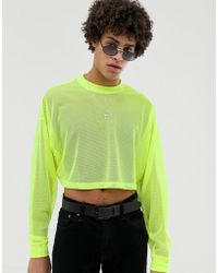 dddf7f02a4 ASOS - Festival Oversized Cropped Long Sleeve T-shirt In Neon Mesh - Lyst
