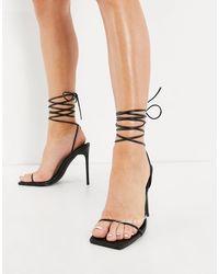 SIMMI Shoes Simmi london - sina - sandales à talon avec liens à nouer autour - Noir