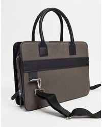 ASOS – Umhängetasche im Aktentaschen-Stil aus Leder und Leinen - Schwarz