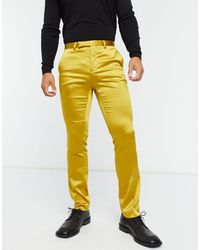 Twisted Tailor Sateen Suit Trousers With Shawl Lapel - Yellow