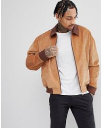 ASOS DESIGN - Cord Oversized Harrington Jacket With Faux Suede Collar In Tan - Lyst