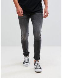 ASOS Superskinny Jeans In Gewassen Zwart