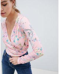 ASOS - Daywear Wrap Body In Floral Print - Lyst