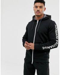 Armani Exchange Черный Свитшот На Молнии С Капюшоном И Логотипом