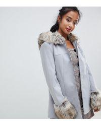 74ad8de0e69c4 Miss Selfridge Exclusive Reversible Faux Shearling Coat in Pink - Lyst