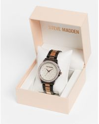 Steve Madden Watch With Quilted Dial And Stones - Multicolour
