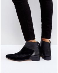 INTENTIONALLY ______ - Dallas Black Leather Flat Ankle Boots - Lyst