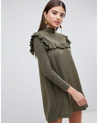 Long Sleeve Sweater Dress With Frill Detail