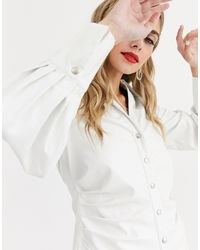 Skylar Rose Fitted Shirt With Tuck Sides - White