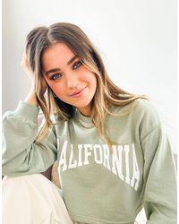 Pull&Bear Sweatshirt Co-ord With California Slogan - Green