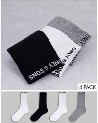 Only & Sons Комплект Из 4 Пар Разноцветных Спортивных Носков С Логотипом -разноцветный - Многоцветный