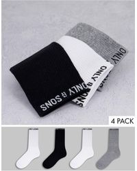 Only & Sons 4 Pack Sport Socks With Logo - Multicolour
