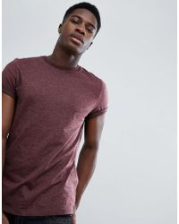 ASOS - T-shirt In Twisted Jersey Textured Fabric With Roll Sleeve In Brown - Lyst