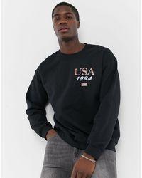 New Look Usa 94 Print Sweat - Black