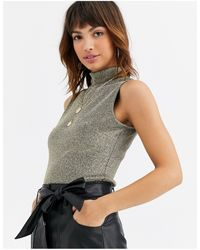 Warehouse Top With Funnel Neck - Metallic