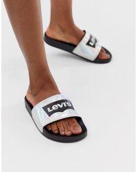 d82ec4717a5e Levi s Sports Logo Sandal in Blue - Save 11% - Lyst