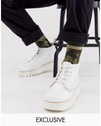 Kickers Белые Кожаные Ботинки На Толстой Платформе -белый