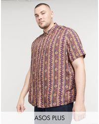 ASOS Plus - Camicia comoda con stampa vintage - Multicolore