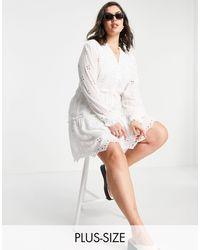 River Island Белое Свободное Платье Мини С Длинными Рукавами И Вышивкой Ришелье -белый