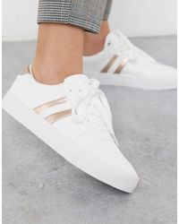 London Rebel Side Stripe Lace Up Sneakers - White