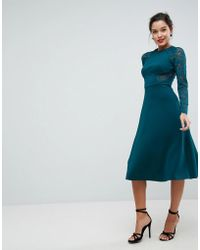 ASOS - Premium Midi Scuba Skater Dress With Lace Sleeves - Lyst