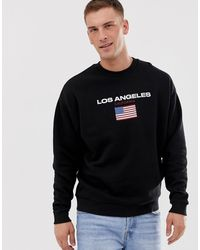 ASOS Sweatshirt With Los Angeles Text Print - Black